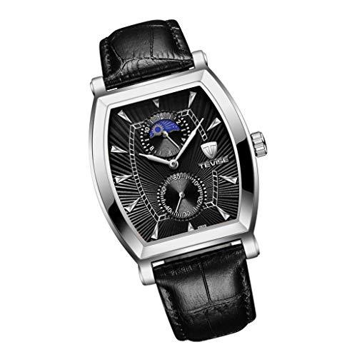 Nobranded Reloj de Cuarzo para Mujer Reloj de Pulsera Automático Pantalla Analógica Cuadrado Joyería para Hombre - Negro 1
