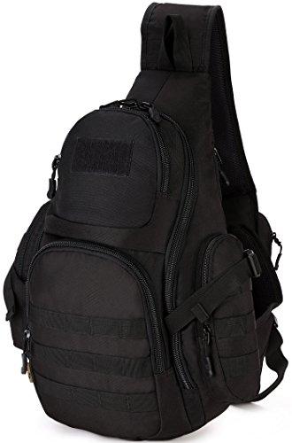 DCCN Rucksack mit einem Gurt Crossbag Sling Bag Molle Sling Rucksack für Radfahren Wandern Camping Schwarz