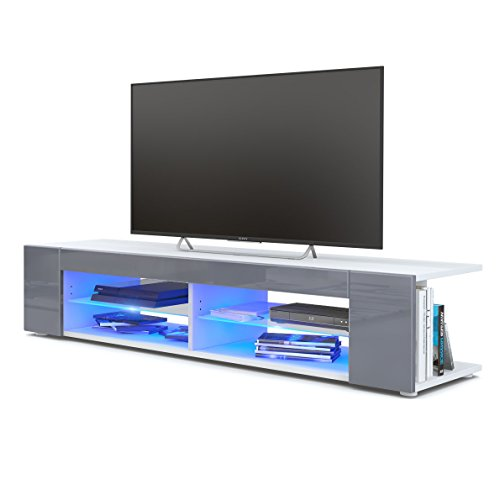 Vladon TV Unit Stand Movie, Carcass in White matt/Front in Grey High Gloss with LED lighting in Blue