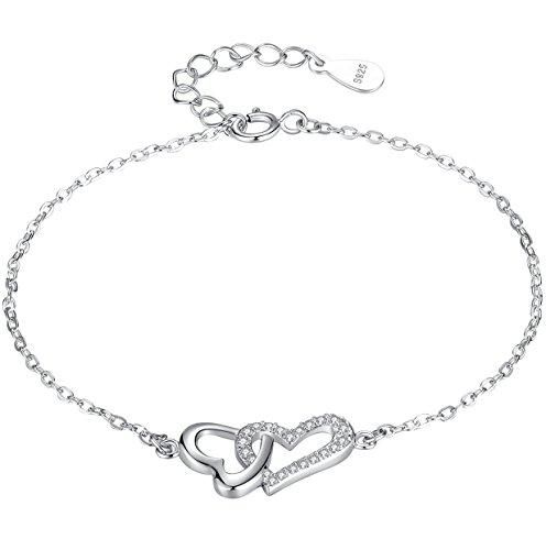 Braccialetto per le donne e le ragazze, legata cuore in amore in Argento Sterling e zirconia cubica - sy008b1