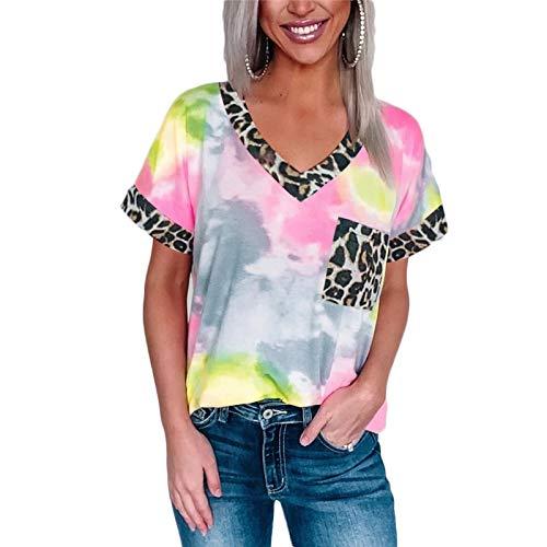 DREAMING-Suéter Casual para Mujer con Estampado de Leopardo teñido con Lazo, Bolsillo con Costura, Cuello en V, Camiseta de Manga Corta, Camiseta Holgada de algodón S