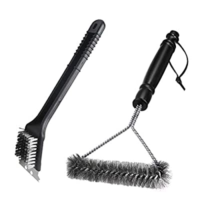 niolio Grill Brush Set, BBQ Brush and Scraper, 12 Inch 3-Sided Barbecue Grill Brush, Two Set for All Grill Cleaning, Best Safe BBQ Cleaner Gift