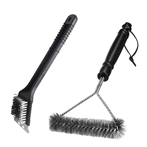 Grill Brush Set, BBQ Brush and Scraper, 12 Inch 3-Sided Barbecue Grill Brush, Two Set for All Grill Cleaning, Best Safe BBQ Cleaner Gift