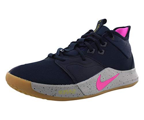 Nike PG3 Basketball Shoes, Obsidian / Pink Blast-wolf Grey, 12.5 Women/11 Men