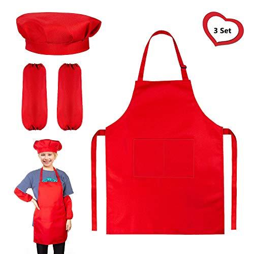 Comius Sharp Traje de Chef para niños, 1 Piezas Conjunto de Delantal, Gorro y Manguitos, Chef Ajustable Delantales con 2 Bolsillos, Disfraz de Chef Ajustable para niños y niñas (Ropa)