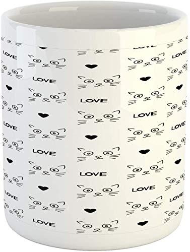 Tazza per animali domestici, a tema gatti con faccine di gatto, disegnate a mano, a forma di cuore, gattino, baffi, in ceramica, tazza da caffè per acqua e tè, 11 oz, grigio antracite e bianco