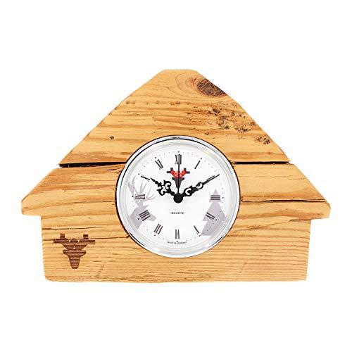 SELVA Altholz-klok - Zwarte wouden huis - UTS-kwarts - witte wijzerplaat - incl. batterij - afmetingen: 110 x 160 x 110 mm - gewicht: ca. 800 g.