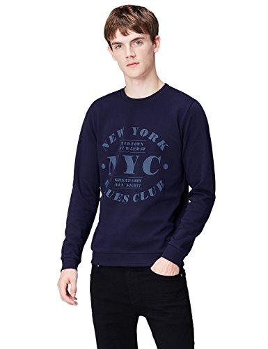 Amazon-Marke: find. Sweatshirt Herren aus Baumwolle mit NYC-Print, Blau (Maritime Blue), M, Label: M