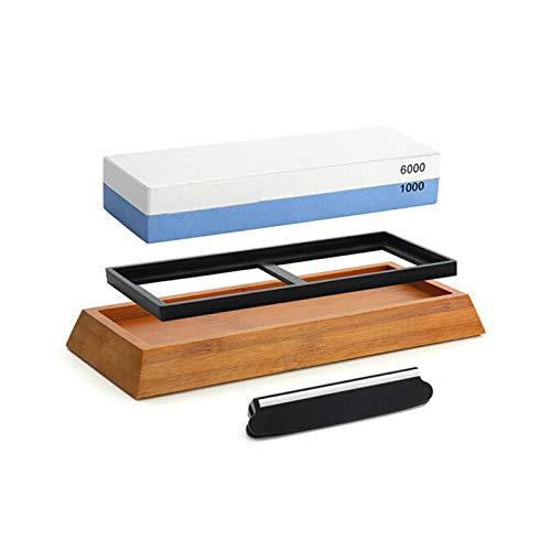 FOEAQ 1000/6000 blauweißer Korund doppelseitiger Schleifstein tragbare Küche Ölstein Schleifstein Basis Hilfsmesserhalter Schleifstein