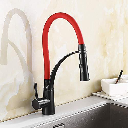HUSHUN, Rubinetti miscelatore per lavello da cucina con doccetta estraibile Cromo moderno monocomando rubinetto girevole da cucina@ORB e rosso