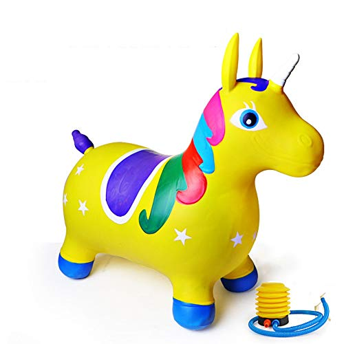 SXNYLY Rocking Horse 1-5 Year Old Baby Inflatable Vaulting Toy Unicorn Shape Anti-rollover Non-slip Thick Pony Mount Children's Birthday Gift (Color : B)