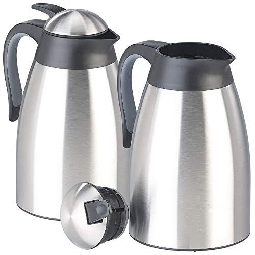 Rosenstein & Söhne Vakuum-Thermokanne: 2er-Set doppelwandige Edelstahl-Vakuum-Isolierkanne m. Ausgießtaste (Kaffeekanne Thermo)
