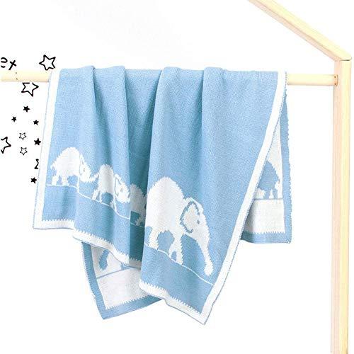 Cómoda Mantas de Lana Bebe 95 x 75cm Algodon Aire Acondicionado Manta Bebé Recien Nacidos Baby Mantas Infantiles Wrap de Dormir Ropa de Cama Regalo para Niño Suave (Color : Blue)