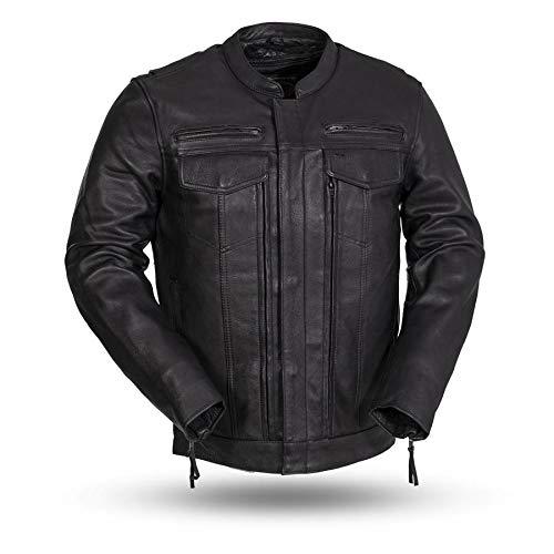 First Manufacturing Raider Men's Protective Biker Motorbike Motorcycle Leather Jacket (Black, Medium)