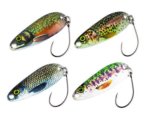FISHN Trout Spoon Set REALLYone, 3.2gr, 3.5cm Esche da Trota, cucchiai da Trota, cucchiai da Trota per la Pesca, Esche da Trota per la Pesca di trote, salmerini e persici (4X)