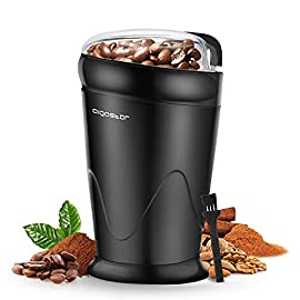 Aigostar Electric Coffee Grinder, Stainless Steel Blade, 150W, 60g Capacity, Cord Storage, Portable & Compact for Coffee…