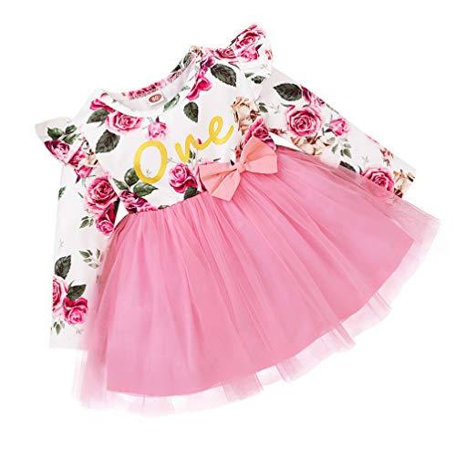 SOIMISS Infantil Rosa Floral Ruffle Romper Manga Longa Tutu Vestido Da Menina de Vestido de Algodão Bonito One Piece- Saia de Tule Primavera Outono Outfit Roupas Quentes Para As Meninas