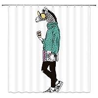 トレンディなヒップスターのように着飾った楽しい漫画のシマウマ浴室の窓の装飾のための生地のホックが付いているポリエステル防水シャワー・カーテン60X72in