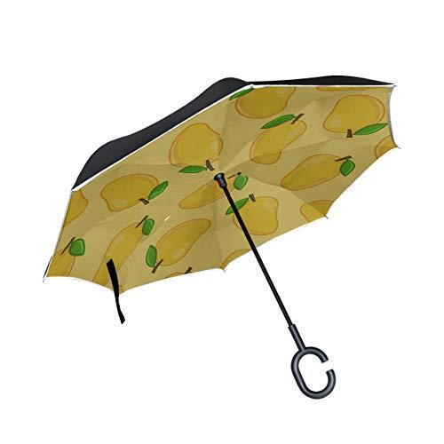 Double Layer Inverted Folding UV-Regenschirm Delicious Yellow Mango Wende-Kinderwagen Kinderwagen Wende-Regenschirm Winddichter UV-Schutz für Regen mit C-förmigem Griff