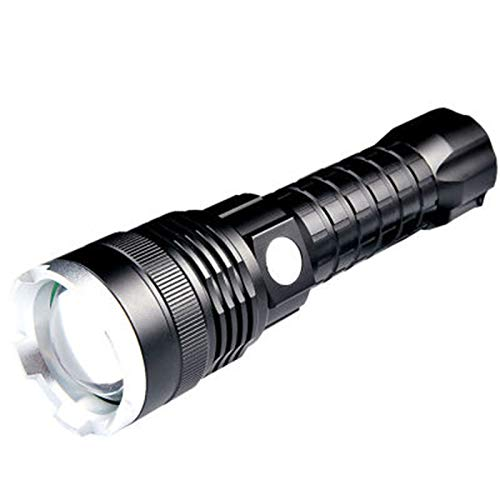 Linterna de alta potencia de alta potencia P50 20W con carga USB 5000mAh Zoom táctico al aire libre LED linterna (Black +26650 Batería) Getrichar