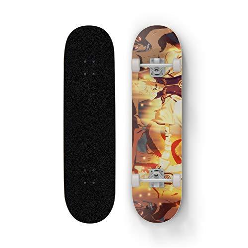 XFLYX NARUTO Uzumaki Naruto Kurama Anime Skateboard, Mini Cruiser, 7 capas Maple Deck Skateboard, carga 100 kg, principiante Road Street Scooter