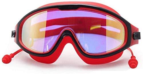 BBGSFDC Gafas de natación con Tapones for los oídos Anti Adulto Niebla Gafas de natación Ajustable Gafas de natación (Color : Red)