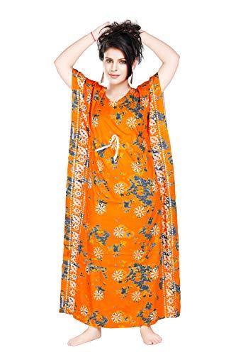 Satyam Nighties Women 100% Cotton Large Size Porshan Print Batik Kaftan Nighty(Yellow)