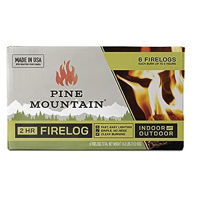Pine Mountain 6PK 2HR Trad Fire Log, 6 Firelogs, 2-Hour Burn Time, 6 Piece