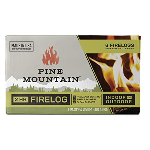 Pine Mountain 6PK 2HR Trad Fire Log, 6 Firelogs, 2-Hour Burn Time, 6 Count