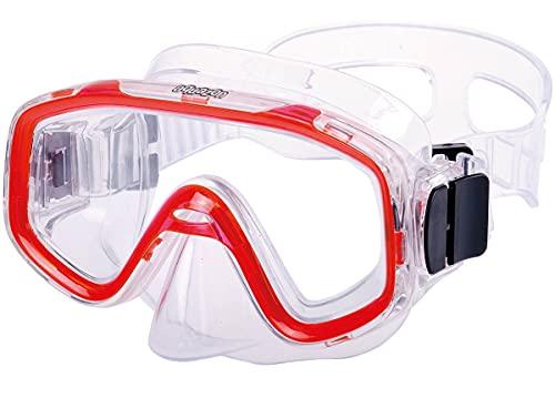 AQUAZON Fun Maschera da Snorkeling Junior, Maschera Subacquea, Occhiali da Nuoto, Maschera da Sub per Bambini, Ragazzi da 3 a 7 Anni, Molto Resistente, Eccellente indossabilità, Colore:Rosso