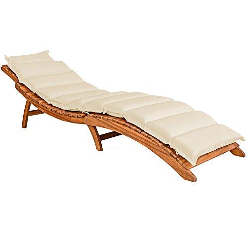 Deuba Coussin pour Chaise Longue rembourré crème 7cm d'épaisseur avec lanières Coussin pour transat Bain de Soleil
