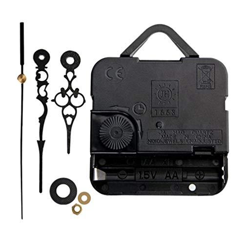 Garneck mecanismo de movimiento del reloj de pared de cuarzo diy piezas de reparación manos de reemplazo barrido silencioso segundo movimiento del reloj electrónico (negro)