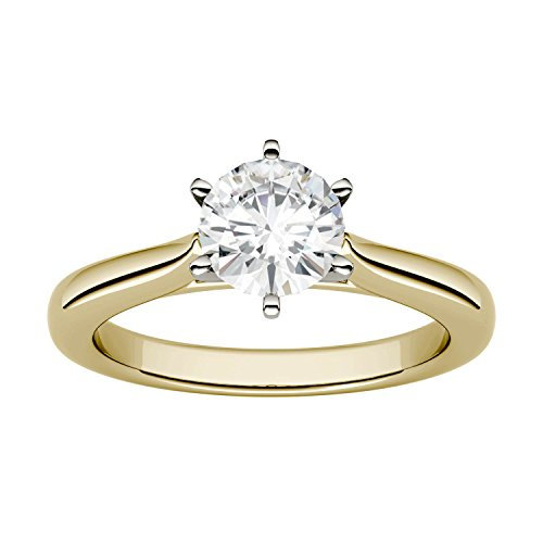 Yellow Gold 6.5mm Moissanite by Charles & Colvard 6-Prong Solitaire Engagement Ring-size 6, 1ct DEW