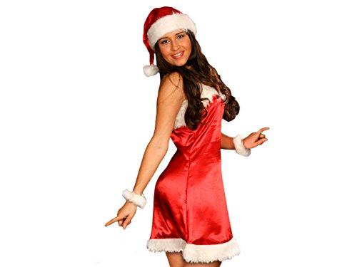 PROMOTION: Costume tenue sexy mère noël déguisement complet très classe (wk-78), ensemble de 5 pièces: robe, ceinture, 2 bracelets et bonnet. en satin de soie rouge et fourure blanche de très haute qualité taille unique S/M (34/40) adultes ados cadeau sympa tenue habit femme fille original joyeux miss Santa girl Christmas joyeuse fête de fin d'année L'ensemble est confortable et facile à enfiler vêtement accessoire idéal pour se déguiser et faire la surprise pour les petits enfants, Haute de Gamme ALSINO