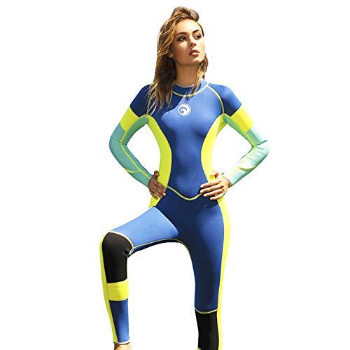 Traje De Baño De Una Pieza para Mujer, Traje De Buceo Completo De Moda De Neopreno De 3 Mm, Traje De Baño Térmico De Color De Manga Larga Completa para Bucear Snorkeling Surf,Azul,S
