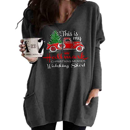 Fanzz This Is My Hallmark Christmas Movies Watching Shirt Women's Merry Christmas Sweatshirts Tops with Pockets (Grey, M)