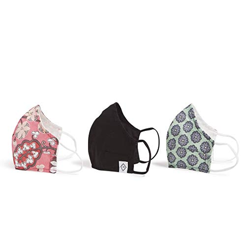 Vera Bradley unisex adult 3-pack Double-layer Cotton Face With Filter Pocket Mask, Black/Nomadic Blossoms/Blush Pink, One Size US