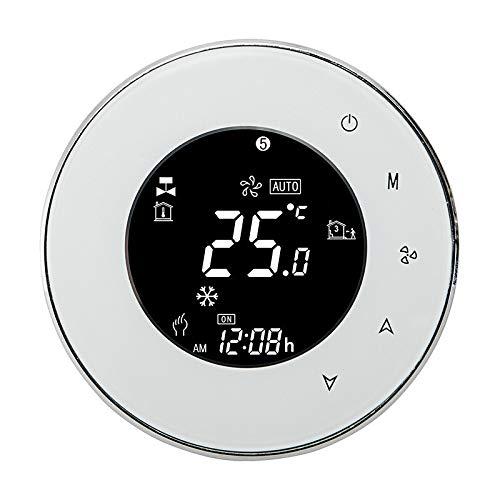 Termostato BHT-6000-GCLW Water/Water Calder Thermostat Backlight WiFi 3A Semana Programable LCD Pantalla Táctil Funciona Con Alexa Google Home (Color : White)