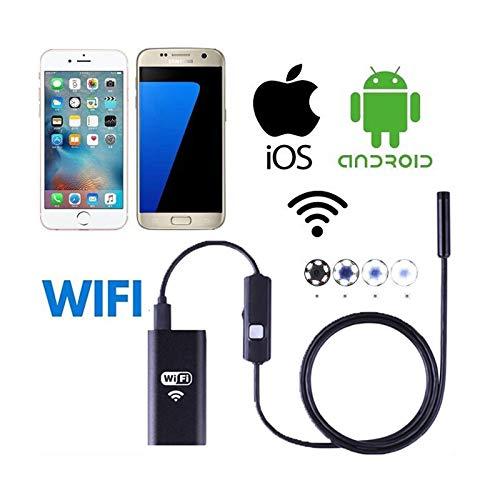 Endoscopio Inalámbrico,WiFi Cámara de Inspección,8mm Full HD Boroscopio Endoscopio USB Impermeable Inspección de Tubos Serpiente Video Boroscopio Visual Cámara,Cable Suave y Semi-rígido,para iOS,Andro
