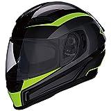 Z1R Casco de Moto Integral HiViz Homologado con Pantalla y Visera Parasol Desplegable | Ventilación | Negro y Amarillo Neon Fluorescente | Policarbonato | Hombre o Mujer (Large)