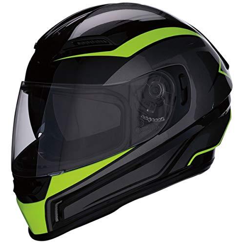 Z1R Casco de Moto Integral HiViz Homologado con Pantalla y Visera Parasol Desplegable | Ventilación | Negro y Amarillo Neon Fluorescente | Policarbonato | Hombre o Mujer