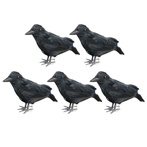 SUPVOX 5 Piezas Figura de Cuervo Figuras de Halloween Ornamento de Plumas Negras decoración tocón de árbol Estante jardín