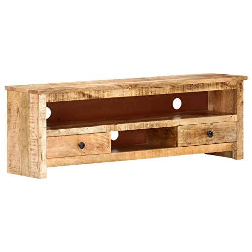vidaXL Raues Mangoholz TV Schrank Vintage-Stil Lowboard TV Möbel Tisch Board Sideboard Fernsehtisch Fernsehschrank HiFi-Schrank 120x30x40cm