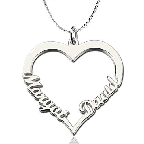 DaMei Colgante Corazón con Nombre Personalizado para Mama Niña Collar de Plata 925 con 2 Nombres Personalizado Joyas Corazón con Nombre para Mujer Regalo de Cumpleaños Aniversario (Silver, 18)