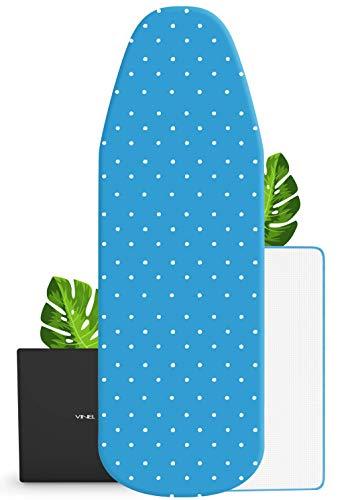 VINEL Bügelbrettbezug für Dampfbügelstation 120x40 | ︎ kräftiger Gummizug ︎ 100% Baumwolle ︎ Komfort Polster | Nr.1 Bezug Bügelbrett mit Polsterung für Dampfstation