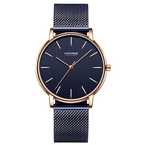 Herren Uhren Ultra Dünne Mode Blau Minimalistische Wasserdicht Analoge Quartz Armbanduhr mit Edelstahl Mesh-Armband