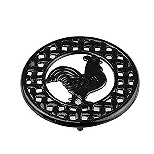 Home Basics TR44177 Cast Iron Rooster Trivet (Black)