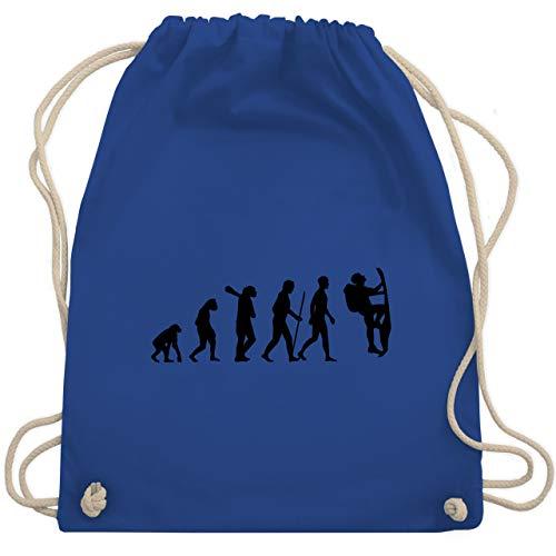 Shirtracer Entwicklung und Evolution Outfit - Klettern Evolution - Unisize - Royalblau - turnbeutel klettern - WM110 - Turnbeutel und Stoffbeutel aus Baumwolle