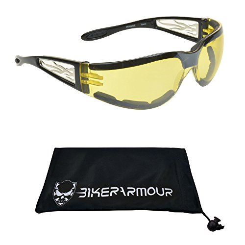 Bikershades Motorcycle Night Riding Glasses Foam Padded Men Women. Chrome Flame Design with Safety...