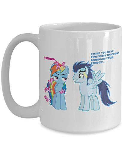 XCNGG Pink Fluff Unicorns Dancing on Rainbow Dash My L-it-tl-e P-o-n-y Coffee or Tea Mug Great Gift for Brony or Pegasister, Lover of MLP or Equestria